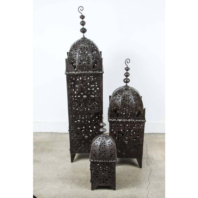 Metal Set of Three Large Moroccan Hurricane Metal Candle Lanterns For Sale - Image 7 of 7