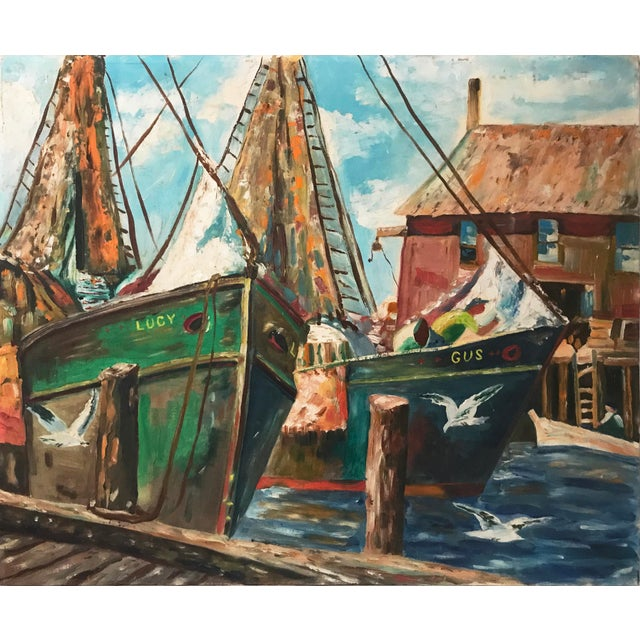 Vintage Oil Painting of a Harbor Scene with Ships C. 1950s - Image 3 of 5
