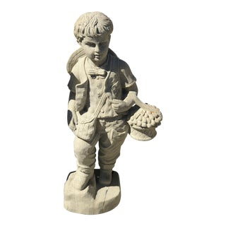 English Cast Stone Gardener Boy Statue For Sale