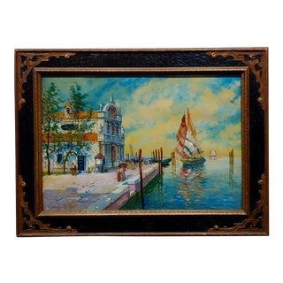 "S.R. Torello ""Venetian Scene"" Painting, 19th Century For Sale"