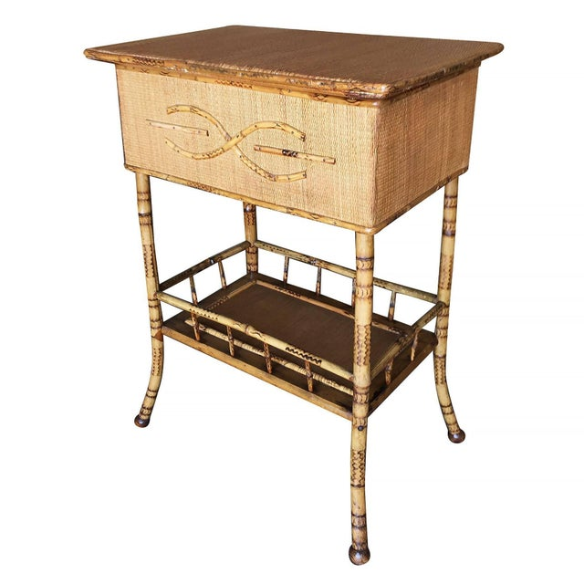 Traditional Restored Antique Tiger Bamboo Pedestal With Storage Box For Sale - Image 3 of 5