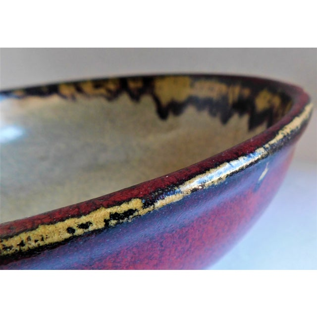 Vintage Claret and Taupe Heavy Glazed Pottery Bowl For Sale In New York - Image 6 of 13