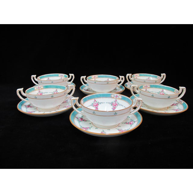 Rose Minton China Persian Rose Bouillon Soup Cups & Saucers - Set of 6 For Sale - Image 8 of 8