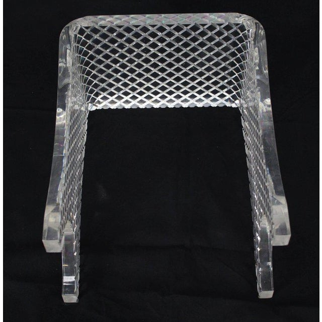 Diamond Cut Bent Lucite Piano Bench Stool For Sale - Image 6 of 8