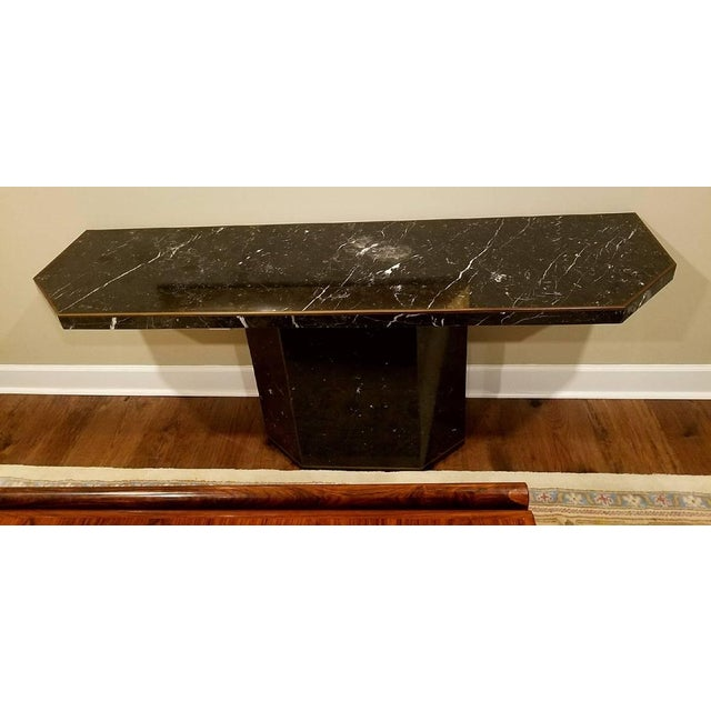 Marble With Brass Inlay Console Table - Image 4 of 9