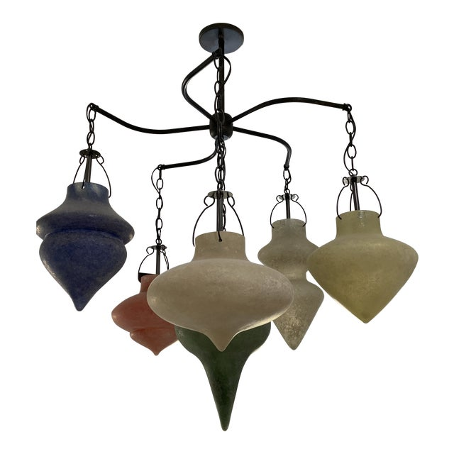 Pair of Murano Glass Chandelier CX Designs Scavo Collection For Sale