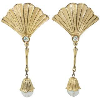 1970's Jonette Jewelry Ginkgo Leaf Dangle Earrings For Sale