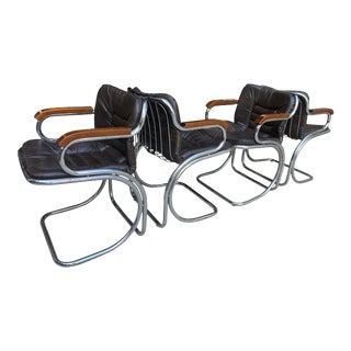 1970s Rinaldi Cantilever Chrome Leather Lounge Dining Arm Chairs - Set of 4 For Sale