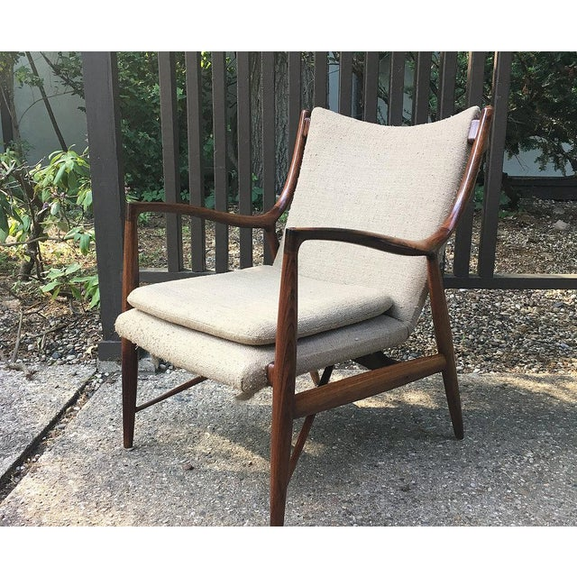Mid-Century Modern Vintage Finn Juhl Nv-45 Rosewood Club Chair For Sale - Image 3 of 6