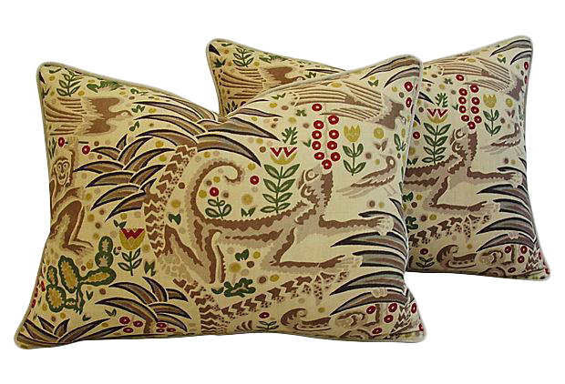 Custom Tailored Clarence House Gibbon Fabric Pillows   Pair
