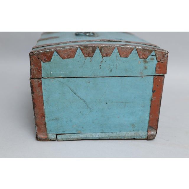 Antique Swedish Chest Strong Box, Lock & Key For Sale - Image 4 of 8