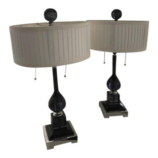 Blue Table Lamps - A Pair