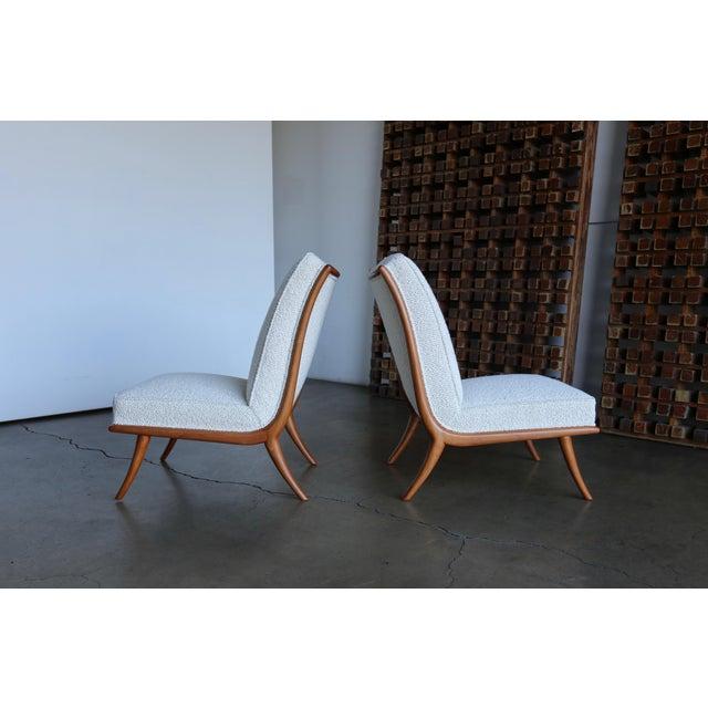Wood t.h. Robsjohn-Gibbings Slipper Chairs for Widdicomb Circa 1955 For Sale - Image 7 of 12