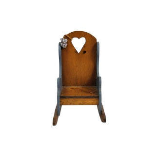 Children's Vintage Wooden Rocking Armchair For Sale