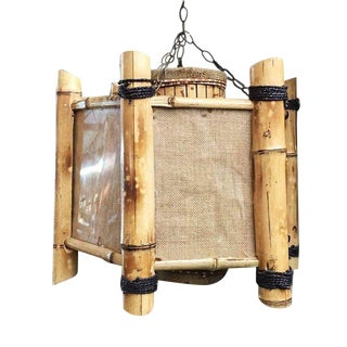 Post-War Bamboo Octagon Chandelier Hanging Lamp, 3-Available For Sale