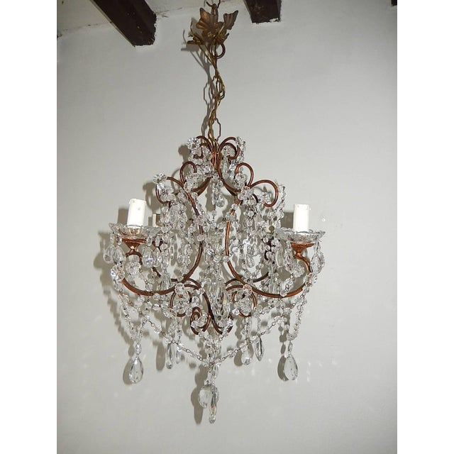 1920, French, Swags and Crystal Prisms Chandelier For Sale - Image 9 of 9