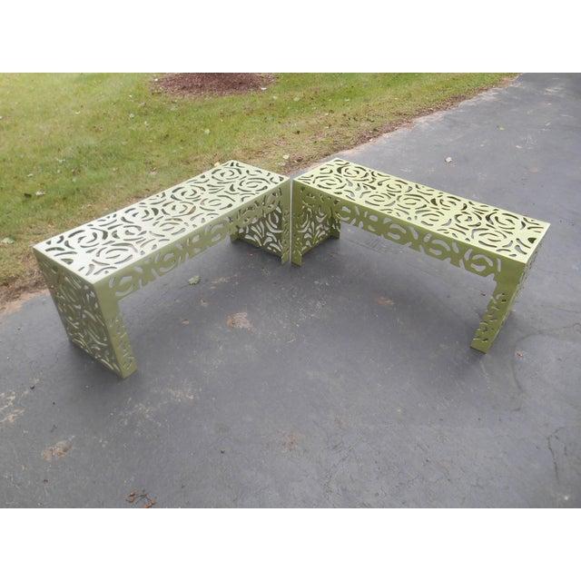 Green Contemporary Pistachio Iron Patio/Garden Bench For Sale - Image 8 of 9