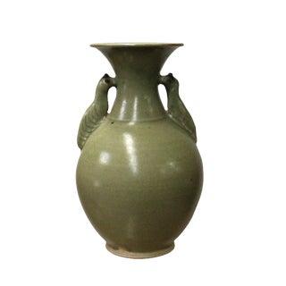 Chinese Handmade Ceramic Gray Green Bird Motif Jar Vase For Sale