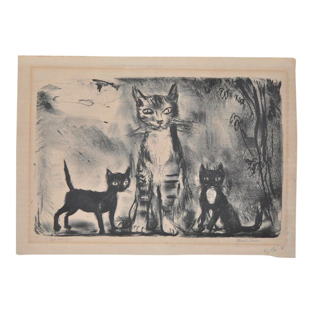 """""""Cat Family"""" Pencil Signed Lithograph For Sale"""