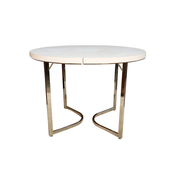 Mid Century Retro Laminate Circular Chrome Base Table For Sale