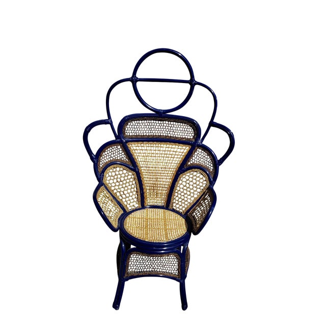 Modern Anthropologie Rattan Wicker and Cane High Gloss Navy Blue Peacock Chair For Sale