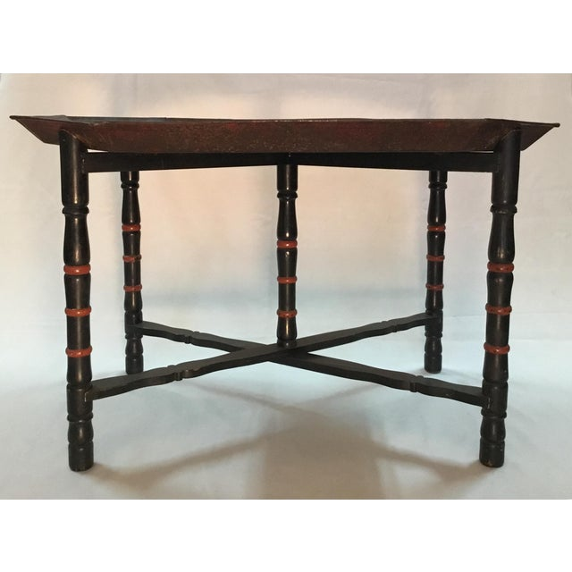 19th C. Scenic Hand Painted Tole Tray Table For Sale - Image 12 of 13