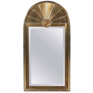 Mid-Century Modernist Arch Form Mirror in Brushed Brass by Mastercraft For Sale