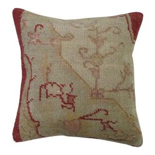 Vintage Oushak Rug Pillow For Sale