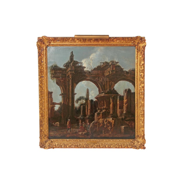 Baroque Painting / Classical Ruins Attributed to Giovanni Ghisolfi (1623-1683) For Sale - Image 13 of 13