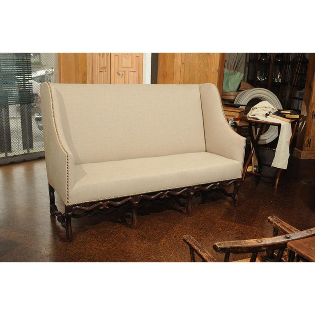 High Back Sofa with Carved Walnut Base For Sale - Image 4 of 9