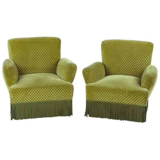 1940s Napoleon III Style Upholstered Armchairs   A Pair
