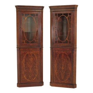 Federal Style Narrow Inlaid Mahogany Corner Cabinets - a Pair