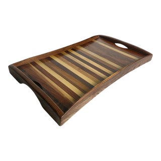 1960s Vintage Don Shoemaker Tessellated Mixed Exotic Wood Serving Tray