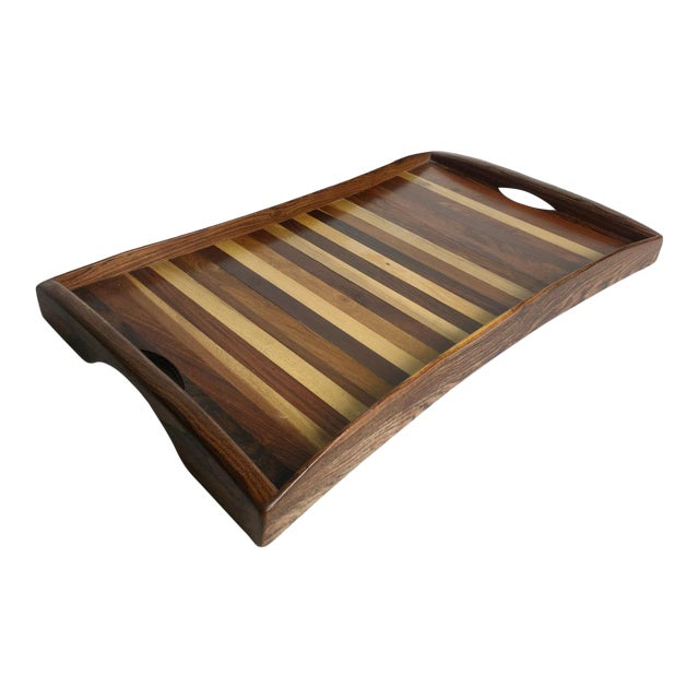 1960s Vintage Don Shoemaker Tessellated Mixed Exotic Wood Serving Tray For Sale