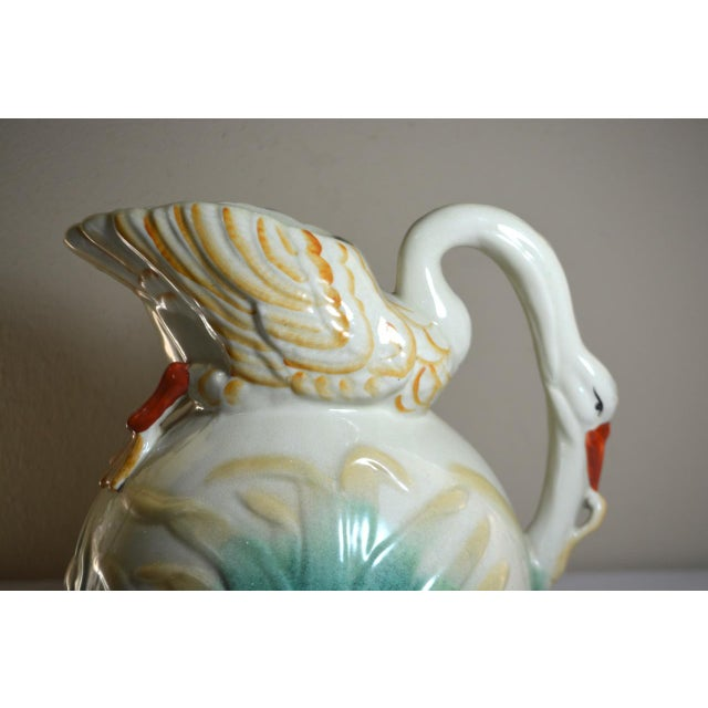 Vintage Large Majolica Swan Shaped Pitcher For Sale - Image 9 of 11