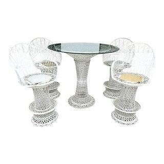 Vintage Mid Century Modern Russell Woodard Spun Fiberglass Dining Set - 5 Pieces For Sale