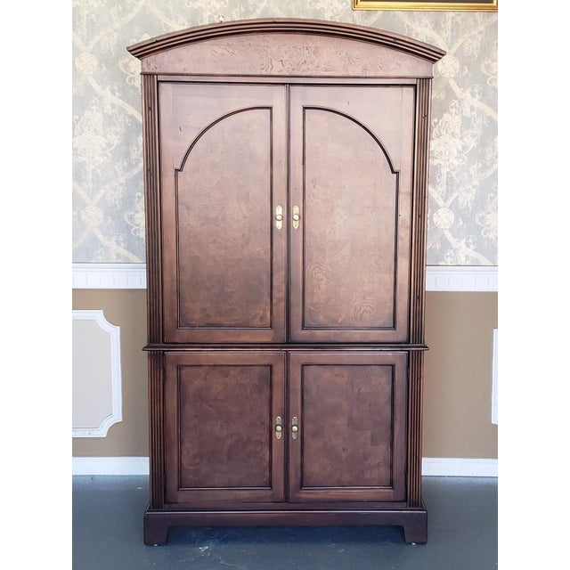 Hekman Furniture Burl Walnut Contemporary Entertainment Tv Armoire Cabinet For Sale - Image 13 of 13