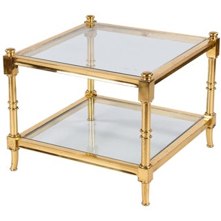 Vintage Maison Jansen Style Brass Side Table For Sale