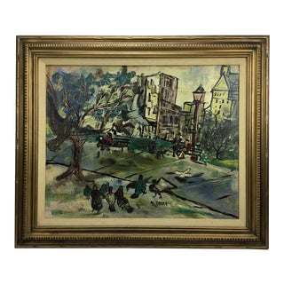 """Al Taylor Painting """"Pigeons in the Park"""" For Sale"""