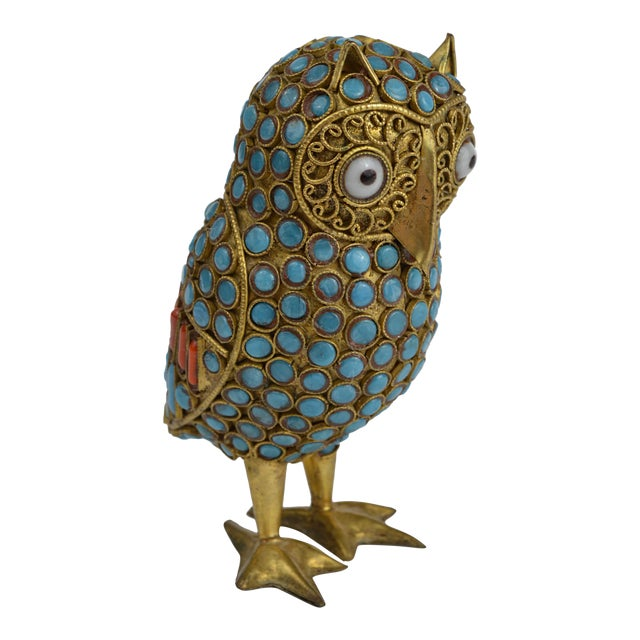 Nepalese Brass Owl Figurine With Turquoise and Coral For Sale