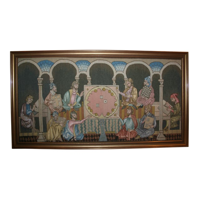 """""""Table Game of the Time"""" Tapestry Made by the Royal Spanish Tapestry Factory For Sale"""