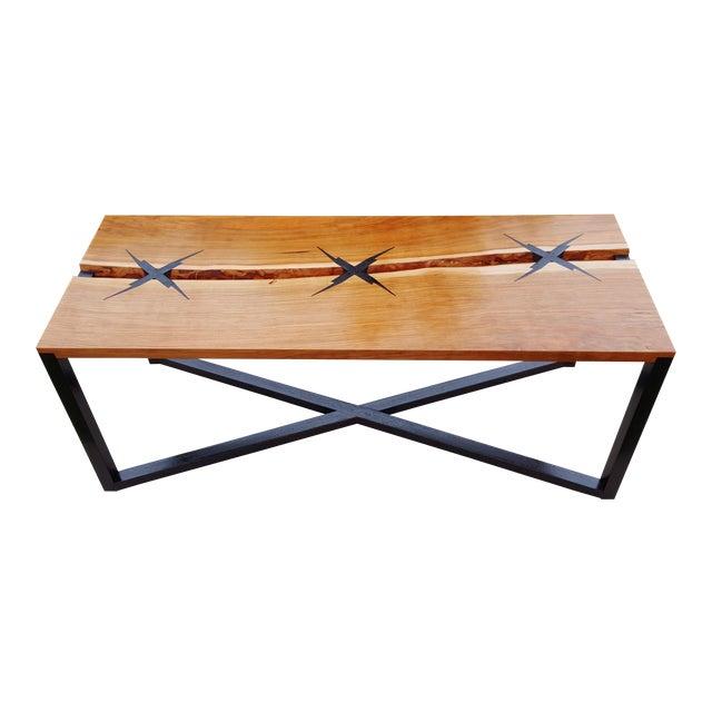 Inlaid Modern Cherry Slab Coffee Table For Sale