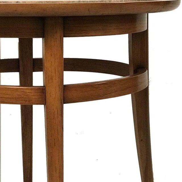 Sleek Drexel Pecan and Italian travertine lamp or end table.