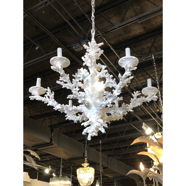 Vintage Palm Beach Tropical White Faux Coral 6 Light Chandelier For Sale - Image 9 of 11