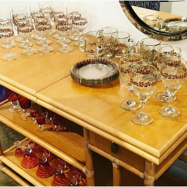 Mid Century Modern McGuire Bamboo, Lamanent & Brass Expandable Bar / Server / Buffet - Image 6 of 10