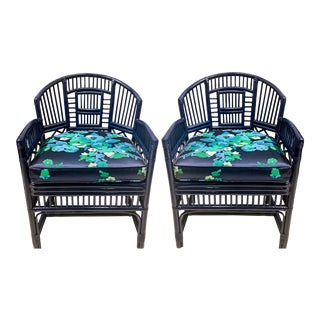Pair of 1970s Chinese Chippendale Style Bamboo Chairs For Sale