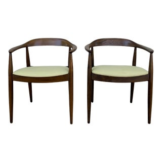 Mid Century Danish Modern Illum Wikkelso for Niels Eilersen Armchairs- A Pair For Sale