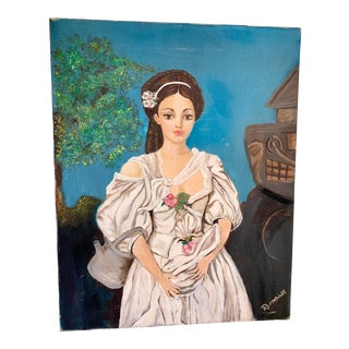 Vintage Canvas Painting of a Woman For Sale