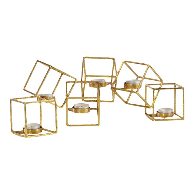 Sparkling Gold 6 Cube Candle Holder - Image 1 of 3