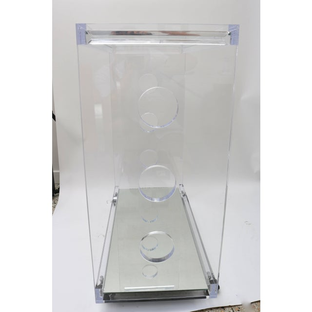 Transparent Showroom Sample - Custom Designed Lucite and Mirror Bar Cart by Alexander Millen For Sale - Image 8 of 11
